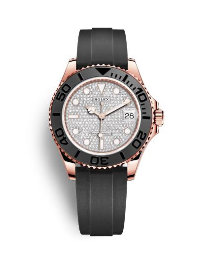 The famous copy Rolex Yacht-Master 37 268655 watches are made from everose gold, diamonds and black rubber straps.