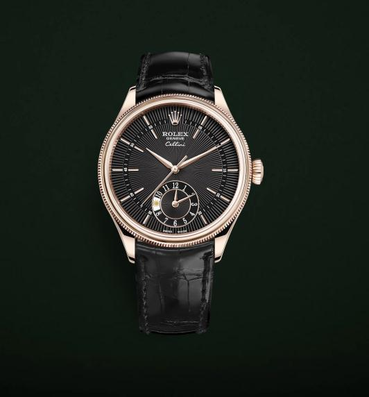 The luxury fake Rolex Cellini Dual Time Zone 50525 watches have black dials.