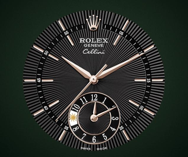 The 39 mm copy Rolex Cellini Dual Time Zone 50525 watches have black dials.