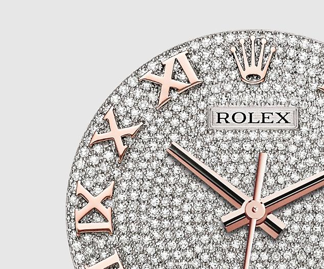 The attractive replica Rolex Pearlmaster 39 86285 watches have diamond-paved dials.