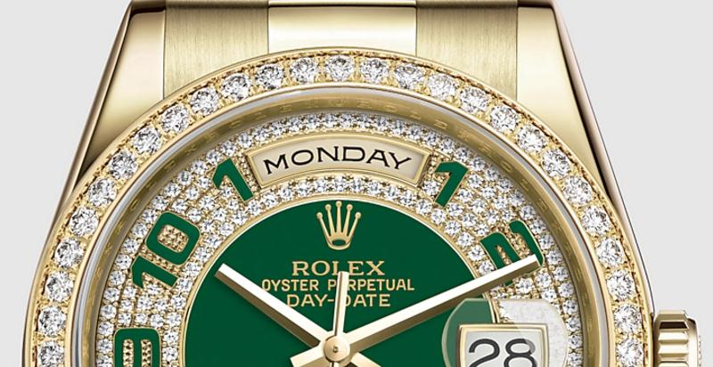 The luxury fake Rolex Day Date 118348 watches are made from yellow gold and diamonds.