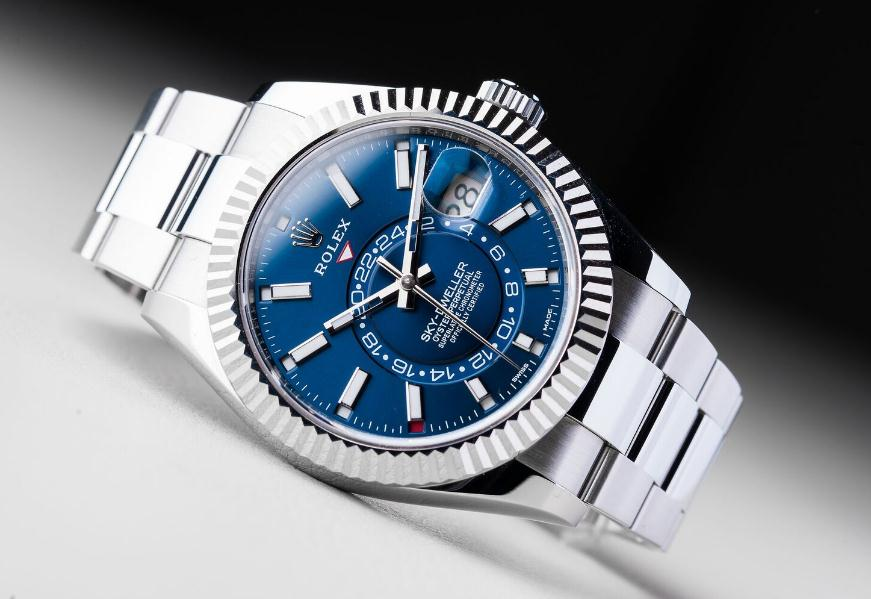 The white gold and Oystersteel replica Rolex Sky-Dweller 326934 watches can guarantee water resistance to 330 feet.