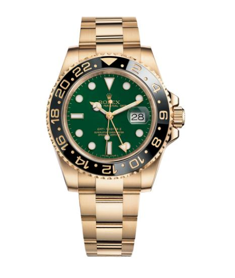 The luxury fake Rolex GMT-Master II 116718LN watches are made from yellow gold.
