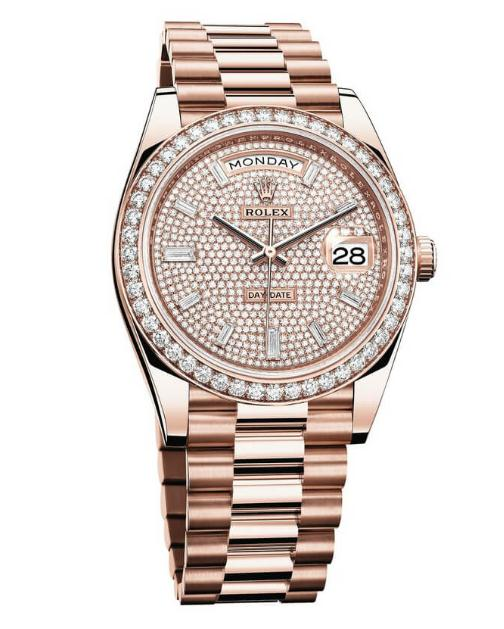 The luxury fake Rolex Day-Date 40 228345RBR watches are made from everose gold.