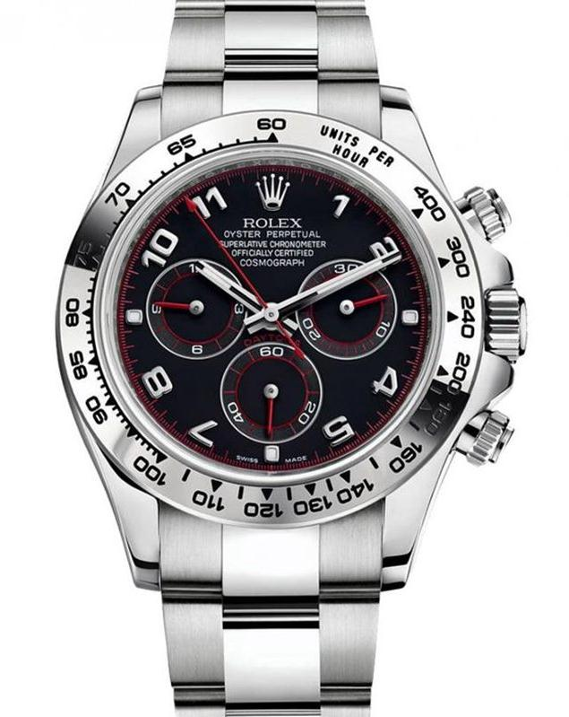 The black dials fake Rolex Cosmograph Daytona watches have Arabic numerals and chronograph sub-dials.