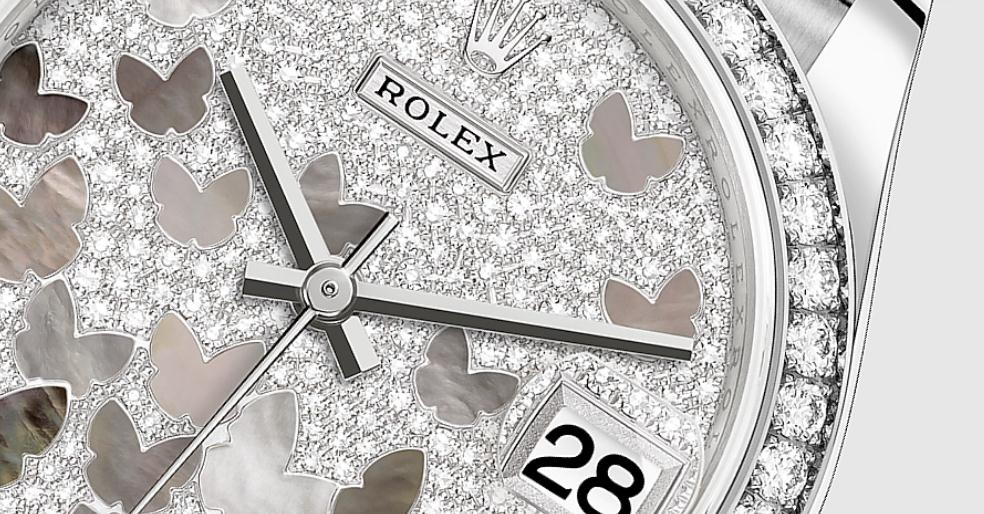 The 31 mm replica Rolex Datejust 31 278289RBR watches have diamond-paved dials with butterfly patterns made from grey and brown mother-of-pearl dials.