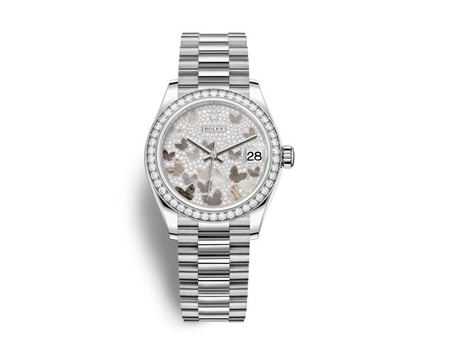 The precious fake Rolex Datejust 31 278289RBR watches are made from white gold and decorated with diamonds.