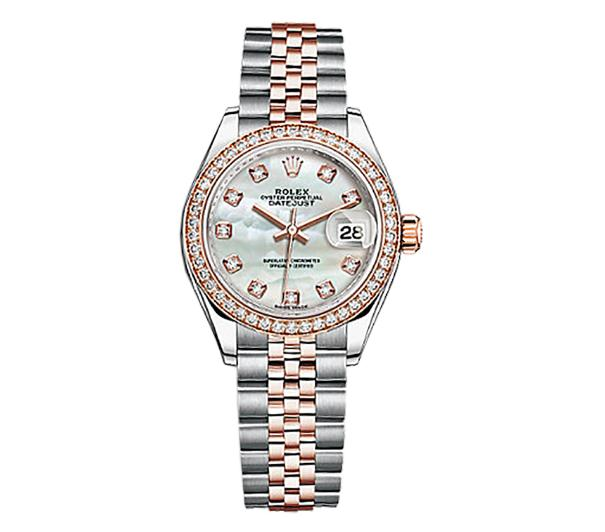 The female copy Rolex Datejust 279381RBR watches are decorated with diamonds.