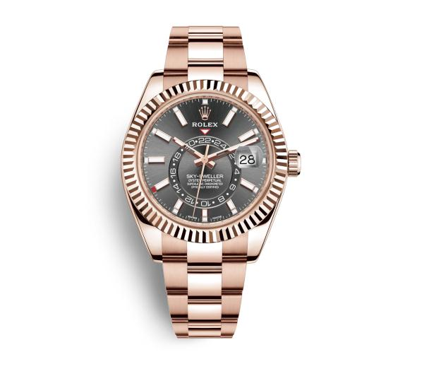 The everose gold fake Rolex Sky-Dweller 326935 watches have grey dials.