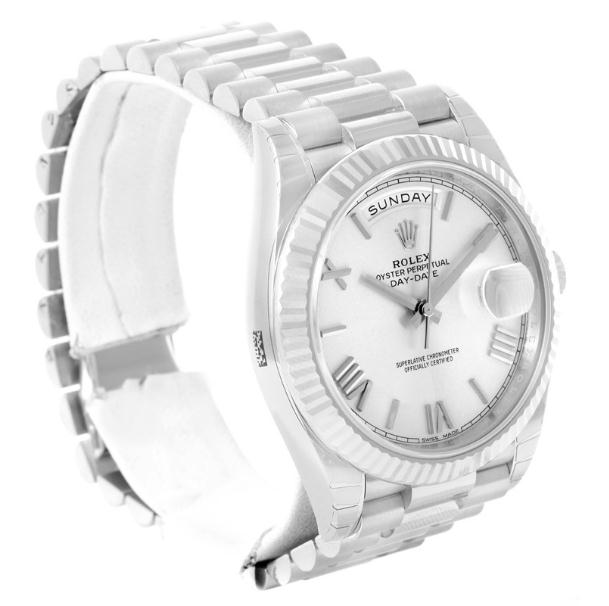 The luxury replica Rolex Day-Date 40 228239 watches have white gold.