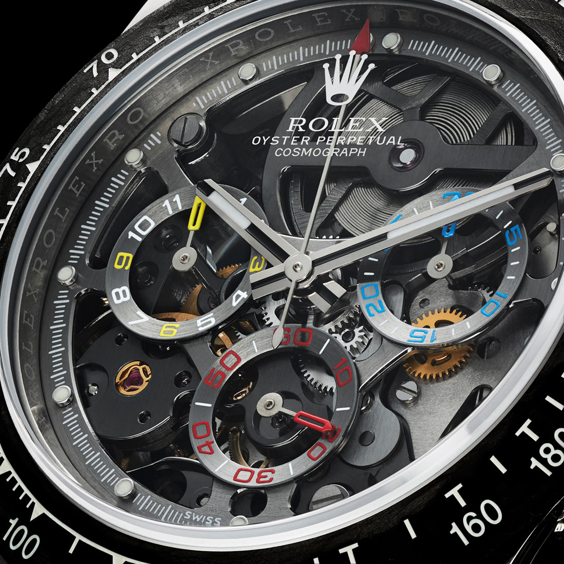 The limited replica Rolex watches have skeleton dials.