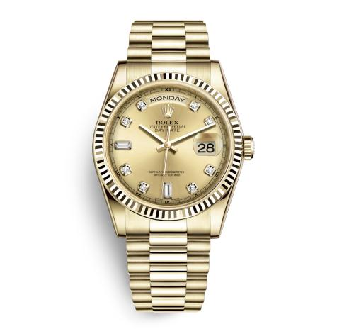 The gold fake watches have champagne dials.