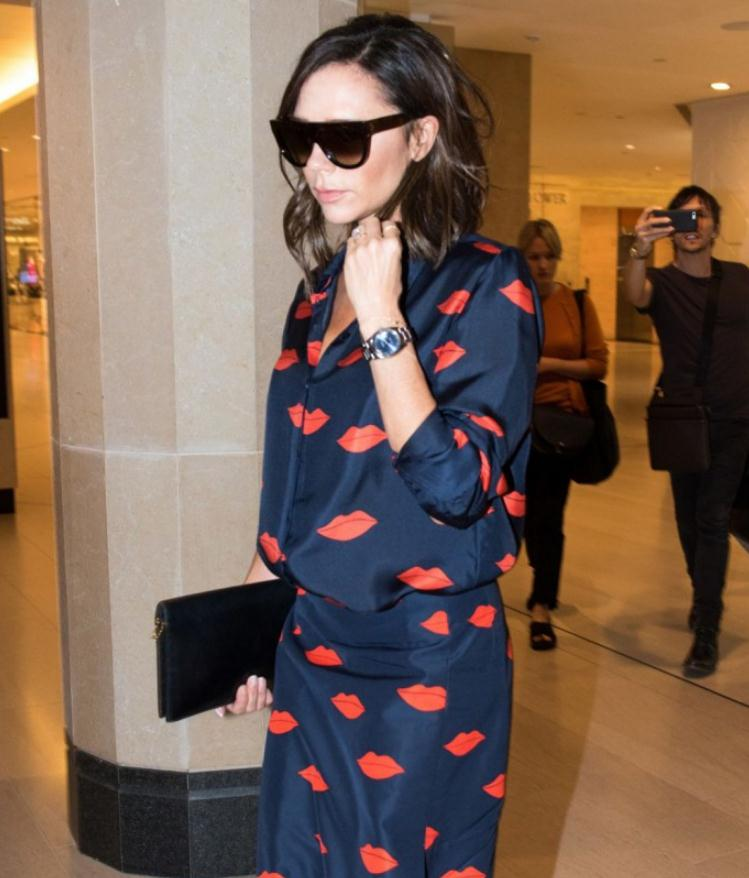 Victoria Beckham wears the blue dial watch fake Rolex Oyster Perpetual 116000.
